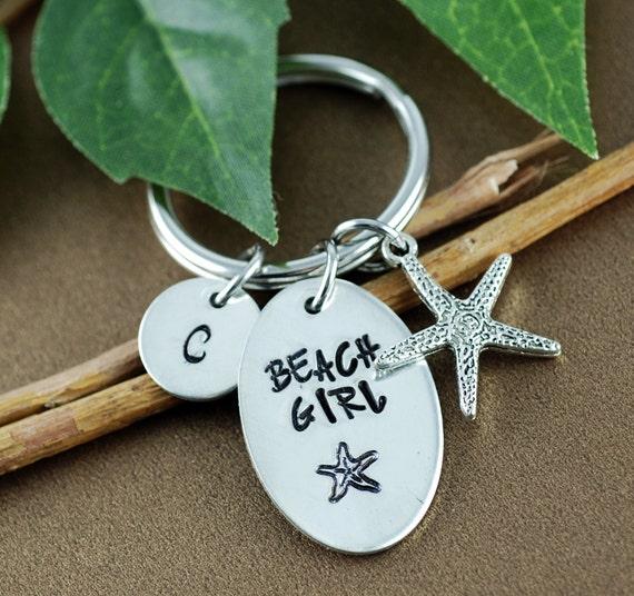Personalized Beach Girl Keychain| Starfish Keychain | Gift for Beach Lover | Keychain for Her | Pewter Keychain | Custom Keychain