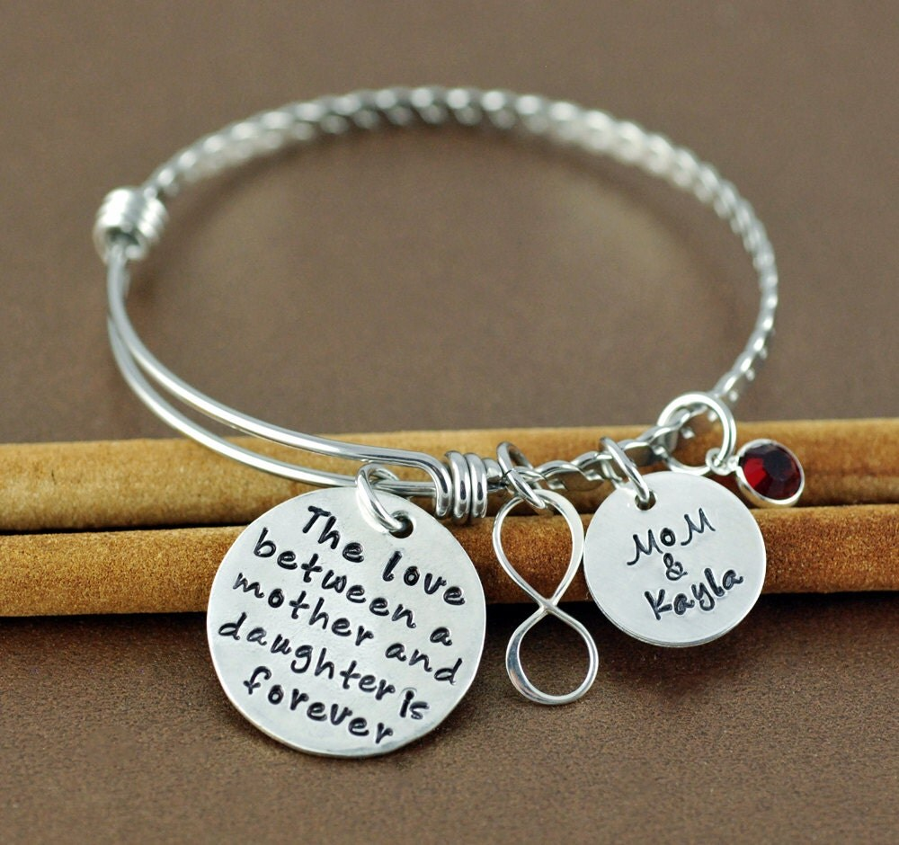 Personalized Hand Stamped Bangle Bracelet Mother Amp Daughter