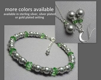 Light Green Bridesmaid Jewelry Set, Greenery, Bridesmaid Gift, Peridot Jewelry Set, Light Green Wedding Jewelry, Light Green Bracelet