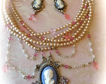 Marie Antoinette Romantic Blue Cameo & Pink French Pearl Choker set