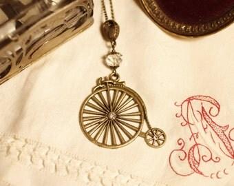 penny farthing, bicycle necklace, bronze, highweel, Czech glass, filigree, vintage style, Boho, Art Deco, Art Nouveau, Modernism, Jugendstil