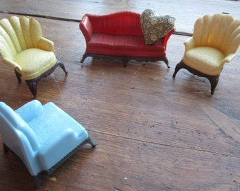 Vintage Renwal Living Room Set:  Red Sofa, Blue Chair, Two Yellow Chairs and one Pillow.Doillhouse decor