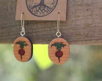 Beet Love Earrings- Sustainable Wood Jewelry- Handpainted Juniper Wood Beet Earrings- Natural Wood Jewelry- Eco Earrings