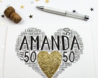 50th Birthday Heart Sparkle Personalised Card