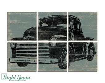 Large Boys Room Wall Art Decor - Vintage 50's Pickup Truck Wall Art - Classic Truck Print Collection 24x36