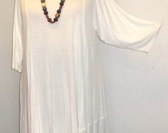 Coco and Juan, Plus Size Top,  Asymmetric Tunic, Womens Top, Soft White Rayon Knit, Size 2 (fits 3X,4X) Bust 60 inches