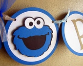 Cookie Monster Party Banner, Cookie Monster Birthday Party, Cookie Monster Happy Birthday Banner, Sesame Street Banner, Cookie Monster Party