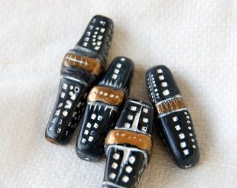 Rustic Black, Gold and White Beads Mismatched Set of Four