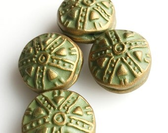 Medieval Style Handmade Embossed Beads in Moss Green and Bronze-- Set of Four
