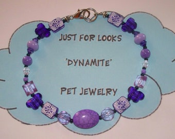 Dog Necklace - Pet Jewelry - Purple Beaded Pet Necklace - Cats Dogs Pets - Just For Looks Dynamite Pet Jewelry - Pet Neckwear - Donate