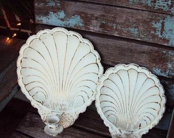 Vintage Shabby Chic Candelabra Wall Sconce Set Candle Holder Shell Shells Repurposed Distressed Chippy Antique off White Baroque ornate
