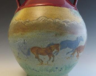 Large Vase Blue Horses in the Dusk