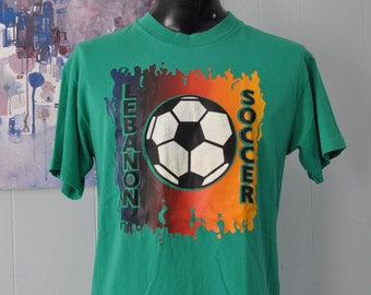 Vintage Green Tee Lebanon Socer Number 77 Neon Fire Design TShirt LARGE