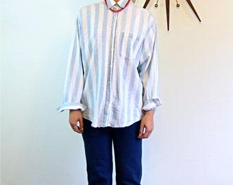 Vintage 80s bon jour Striped Denim Blouse Long Sleeve Button Down Pale Light Blue faded Large Stripe Chambray 1980s Boxy Cut Boyfriend Shirt