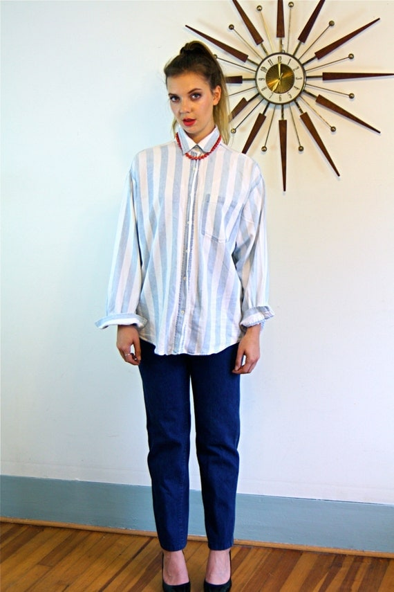 Vintage 80s bon jour Striped Denim Blouse Long Sleeve Button Down Pale Light Blue faded Large Stripe Chambray 1980s Boxy Cut Boyfriend Shirt