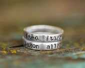 Personalized Sterling Silver Stacking Rings, Rings with Kids Names, Minimalist, Anniversary Date, Name Ring, Children's Names
