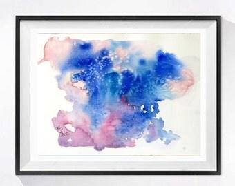 Abstract Art Original Watercolor Original Painting Ink blot psychoanalysis art Small abstract blue painting Lyrical modern Wall art 13 x 10
