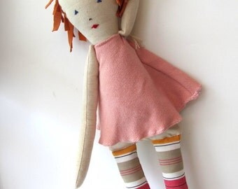 Rona--Sweet doll-Toy-Children-Soft Toy-Recycled-Child friendly-pink--Chrsitmas gift--under 55 USD