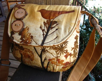Singing Bird in the Wilderness Bag/ Quilted Fabric  /Purse /Messenger/  Tote /School Bag/ Large zipper inside pocket/ 3 open pockets