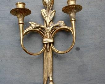 Vintage Brass Wall Sconce Candelabra Candle Holder SALE