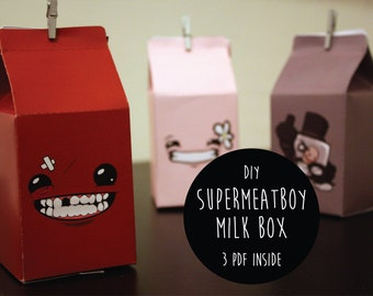 3 Digital Milk Box Gift DIY - Super Meat Boy
