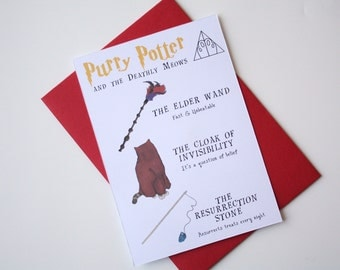 Harry Potter Card Cat Potter card Purry Potter and the Deathly Moews cloak of Invisibility Elder wand Resurrection Stone
