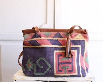 vintage kilim leather bag | carpet bag large