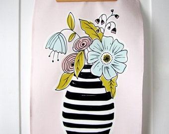 Pink Floral Vase Dish Towel. Feminine Tea Towel. Kitchen Decor. Floral Illustration. Stripes. Pretty. Linen Cotton.