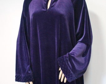 Robe Plush Purple Lounger Lingerie Robe 1980's Vintage Bathrobe Loungewear Purple Housecoat Size Large