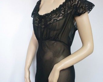 1930's Nightgown Black Nightgown Sexy Hollywood Femme Fatale Lingerie Sheer Lace Nightgown Bombshell Size Small