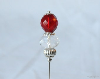 Red and Silver, Red Clear Czech Glass, Silver Metal Rondelle, 3-Inch Stick Pin, Hat Pin, Lapel Pin, Hijab Pin, H0335