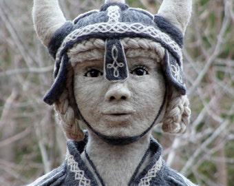LAYAWAY - Second and last payment - Woman Valkyrie Bust Norse Viking- One of a kind Soft Sculpture by Bella McBride