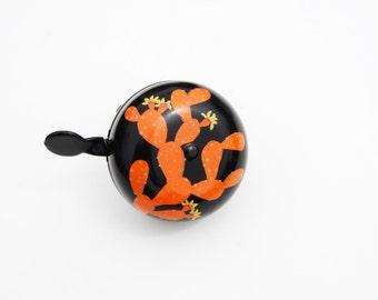 Orange Prickly Pear Bike Bell / Handpainted / Bicycle accessory
