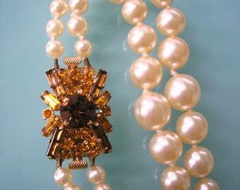 Pearl Rhinestone Necklace Gold Rhinestone Choker Bridal Jewelry 2 Strand Pearls Amber Cognac Stones Wedding Necklace Cream Pearls Vintage