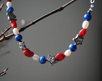 Patriotic pearl bracelet