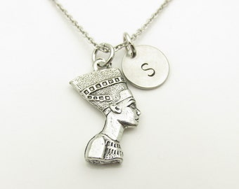 Nefertiti Necklace, Queen Nefertiti Charm Necklace, Egyptian Queen Necklace, Antique Silver Queen Nefertiti, Personalized Initial Y333
