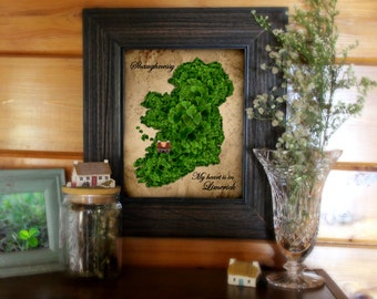 My Heart is in Ireland / personalized art print / Irish wedding / Irish anniversary / Irish birthday / Irish family name /housewarming gift