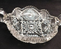 Imperial Nucut Early American Cut/Pressed Glass Handled Serving Dish, Early Cut Glass, Vintage Imperial Glass, **USA ONLY**