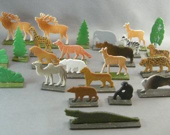 Vintage Animal Toys, German Democratic Republic Post W W 11, Christmas Toys, Holiday Christmas Display, Hand Made Christmas Toys, Post WW11
