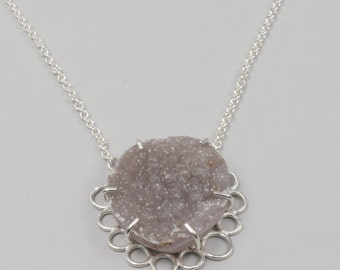 Drusy and Sterling Silver Handmade Pendant Necklace, Raw Natural Drusy Stone Jewelry, Druzy, Druse, Lavender Purple Gray Drusy Jewelry