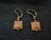 Picture Jasper and Brass Dangle Earrings