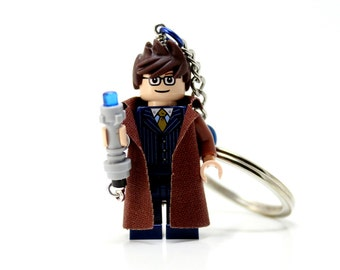 The Doctor Keychain - made from Custom David Tennant Doctor Who LEGO (r) Minifigure, 10th Doctor