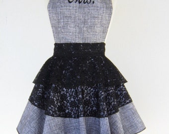 """Diva Apron - New! """"Get your sexy on Mrs.""""  Fancy black and white apron mixed with lace and finished with Mrs. Embroidered on the front."""