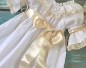 Vintage Inpired Embellished  Flower Girl Special Occasion Dress with Sash  Size 6 months to 16