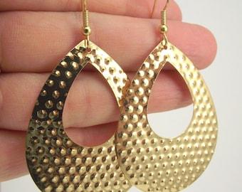 Large Gold Teardrop Earrings, Gold Cut Out Earrings, Textured Gold Earrings
