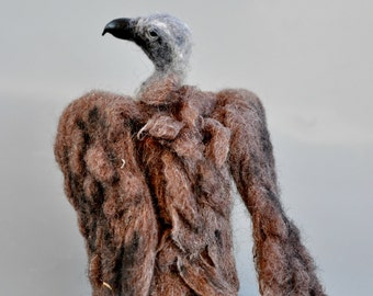 Needle Felted   Animals. Halloween decoration. African White-backed Vulture. Made to order