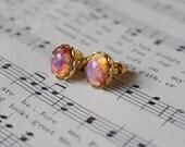 Stella. Harlequin vintage fire opal oval post earrings