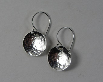 Little Sterling Silver Disk Earrings Half Inch Tiny Circles