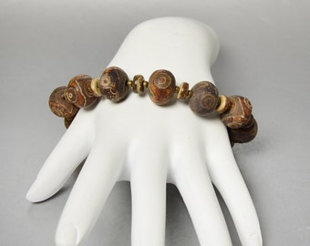 Chunky Brown Stone Bracelet Tribal Tibetan Dzi Beads Toggle Bracelet Easy On