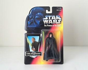 Star Wars Figure Luke Skywalker Jedi Knight - 1990s Kenner Unopened Star Wars Action Figure with Lightsaber and Cloak - Return of the Jedi